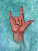 Love in American Sign Language: Hand, Pastel Art