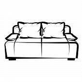 Sofa. freehand drawing. icon black and white
