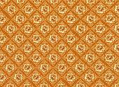 Teste padrão de flor dourada com texturas de fundo marrom