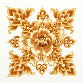 Flor dourada de damasco padrão sem emenda