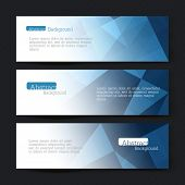 Collection of three horizontal banner designs, abstract blue triangles, vector illustration, EPS10
