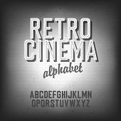 Old cinema styled alphabet. With textured background, vector, EPS10