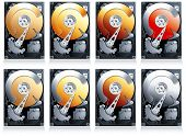 Hard disk drive HDD Illustration, set of 8