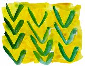 art yellow green ornament watercolor isolated for your design