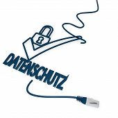 datenschutz(english data protection) symbol with cat5 network cable