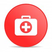 first aid kit red circle web glossy icon