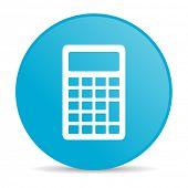 calculator blue circle web glossy icon