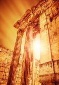 Temple of Jupiter on sunset, ancient historical roman city, Heliopolis ruins, Lebanon Baalbek, old columns architectural landmark, famous religious temple monument, travel and tourism concept