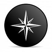 compass black circle web glossy icon