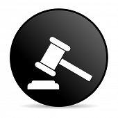 ícone brilhante da lei círculo preto web