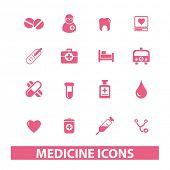 medicina, saúde conjunto de ícones, vetor