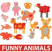 funny, cute cartoon animals set, vector