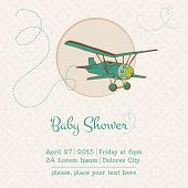 Baby Shower or Arrival Card with Plane in vector