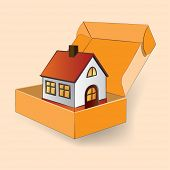 Vector illustration of a house in a gift box