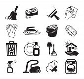 Monochromatic cleaning vector icons