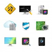 stock photo of shield-bug  - Computer service icons set - JPG