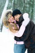 Casal jovem feliz em Winter Park