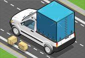 Isometric White Pickup Van With Tarpaulin