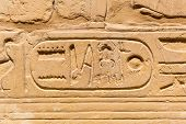 stock photo of hieroglyph  - Hieroglyphic of pharaoh civilization in Karnak temple - JPG