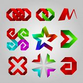 collection of abstract icons of the tape. star, cross, spiral arrow