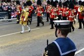 LONDON - UK, APRIL 17: Soldier lining Baroness Thatcher procession route on Ludgate Hill, on April 1