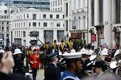 LONDON - UK, APRIL 17: Baroness Thatcher's coffin is carried on a gun carriage on its way to St Paul's Cathedral, on April 17, 2013 in London.