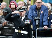LONDON - UK, APRIL 17: Soldier lining Baroness Thatcher procession route on Ludgate Hill, on April 17, 2013 in London.