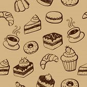 Seamless Pattern With Cakes, Desserts And Bakery Products