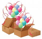 Illustration of the balloons and the boxes on a white background