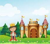 Abbildung des Königs vor seinem Schloss