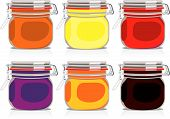Isolated Colored Jam Jars Set