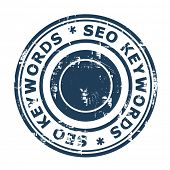 SEO keywords concept stampconcept stamp isolated on a white background.