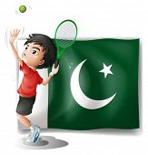 Illustration of the Pakistan flag and the tennis player on a white background