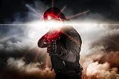 stock photo of soldier  - Soldier aiming assault rifle laser sight - JPG