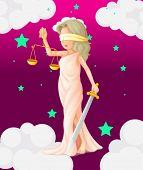Ilustración de una mujer con una balanza y una espada