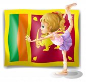 Illustration of the flag of Sri Lanka and the gymnast on a white background