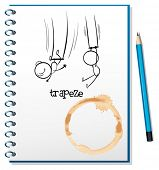 Abbildung eines Notebooks mit einer Skizze der Leute hängen am Trapez auf weißem Hintergrund