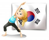 Illustration of a girl exercising in front of the South Korean flag on a white background