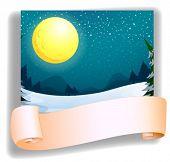 Ilustración de una luna llena y una plantilla vacía