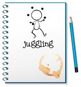 Illustration of a notebook with a sketch of a boy juggling on a white background