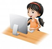 Illustration of a young girl using the computer on a white background