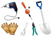 Illustration of the six different kinds of construction tools on a white background