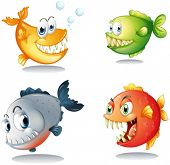 Illustration of the four different kinds of fishes with big fangs on a white background