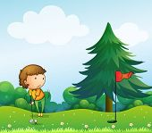 Illustration of a girl playing golf in the hill