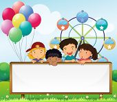 foto of oblong  - Illustration of the kids holding an empty signboard on a white background - JPG