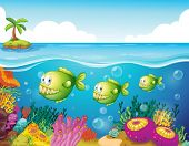 picture of piranha  - Illustration of the three green piranhas under the sea - JPG