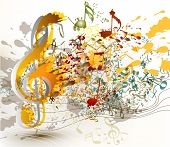 Art Ornate Treble Clef With Colorful Splash, Staves And Notes For Your Design