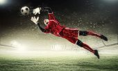 stock photo of football pitch  - Goalkeeper catches the ball  - JPG