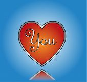 Love You Concept Illustration using You text on a Big red heart against a blue background
