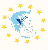 Map Of Greece With Flag And Stars